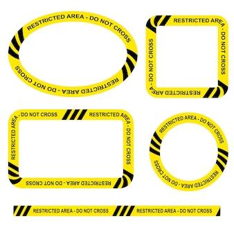 Простой набор векторных овал, прямоугольник, круг, квадратная полицейская линия, ограниченная область, рамка без пересечения для вашего дизайна элемента