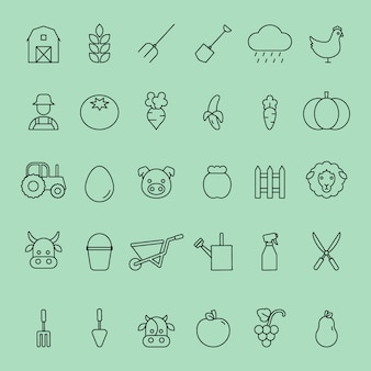 Simple set of vector thin line farm and animals icons