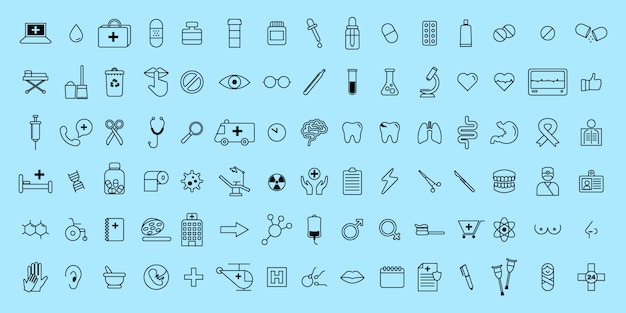 Simple set vector thin line medical and science icons
