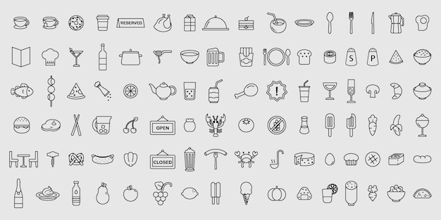 Simple set of vector thin line restaurant and food icons