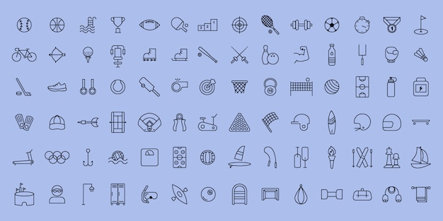 Simple set of vector thin line sports and fitness icons
