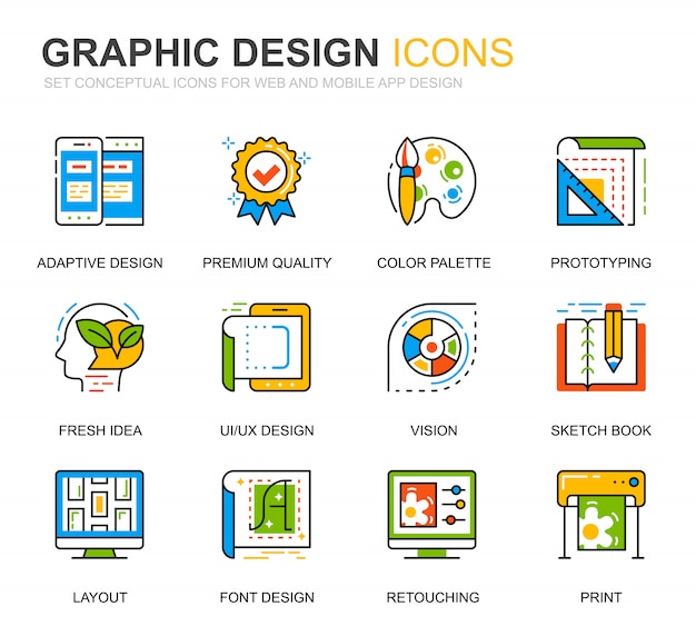 Simple set web and graphic design line icons for website