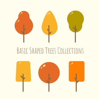 Simple shape rounded  autumn tree