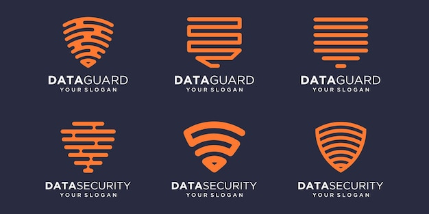 Простой щит технический набор иконок, щит комбинированный цифровой элемент или данные. шаблон дизайна логотипа