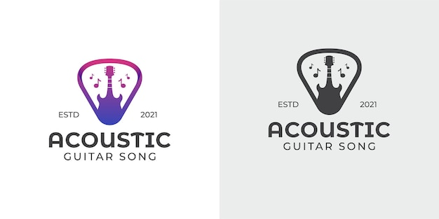 Simple and silhouette acoustic guitar and pick, music shop, concert logo
