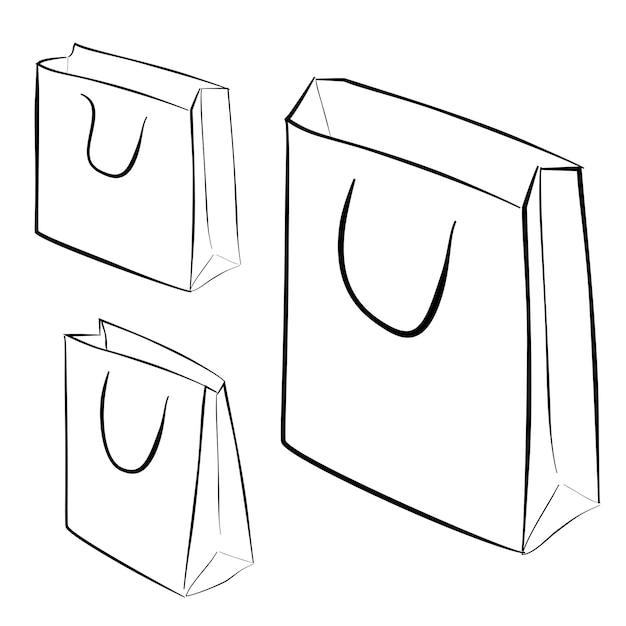 Simple sketch of three shopping bag