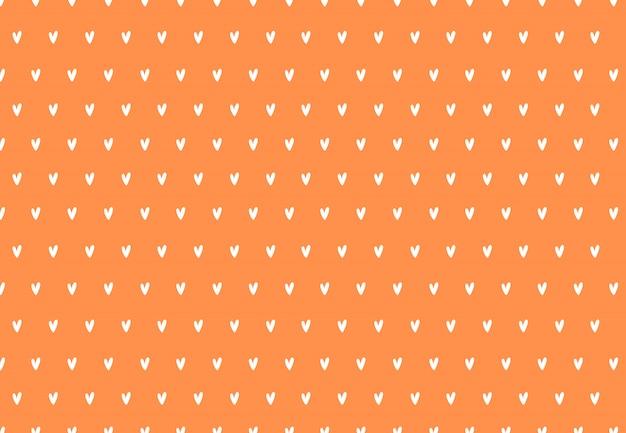 シンプルな小さなハートのシームレスなパターン。オレンジ色の背景に小さな手描きの白いハート。文房具、テキスタイル、webデザインのミニマルなパターン。