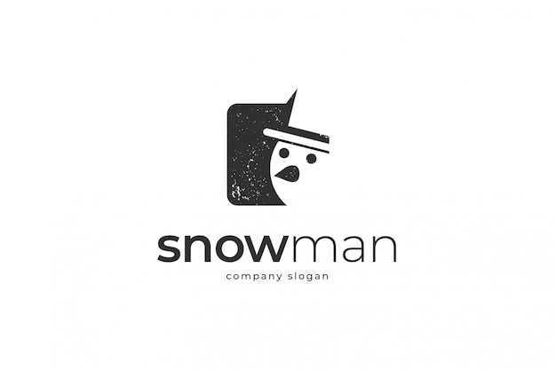 Simple snowman logo template Premium Vector