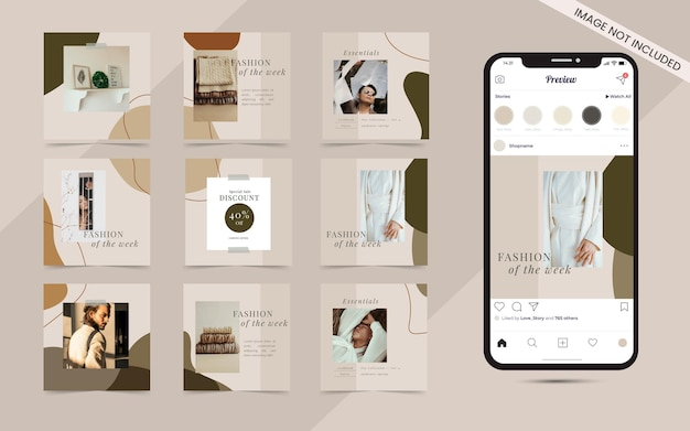 Simple social media square post banner for fashion sale promotion template