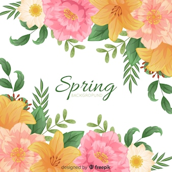 Simple spring background with floral frame