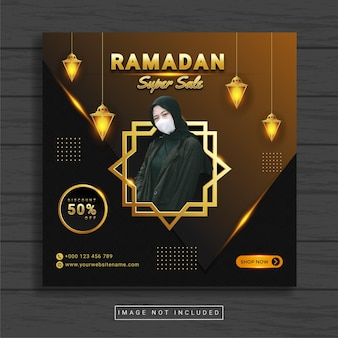 Simple square banner with ramadan fashion theme