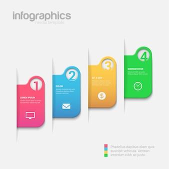 간단한 단계 여러 가지 빛깔의 인포 그래픽 템플릿.