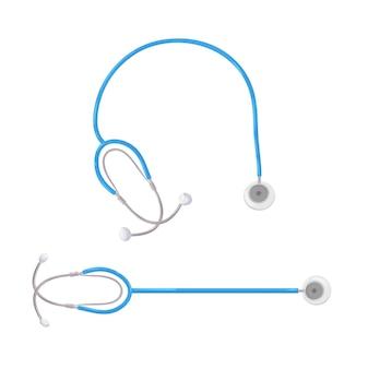 シンプルな聴診器漫画聴診器アイコン健康と薬のシンボル