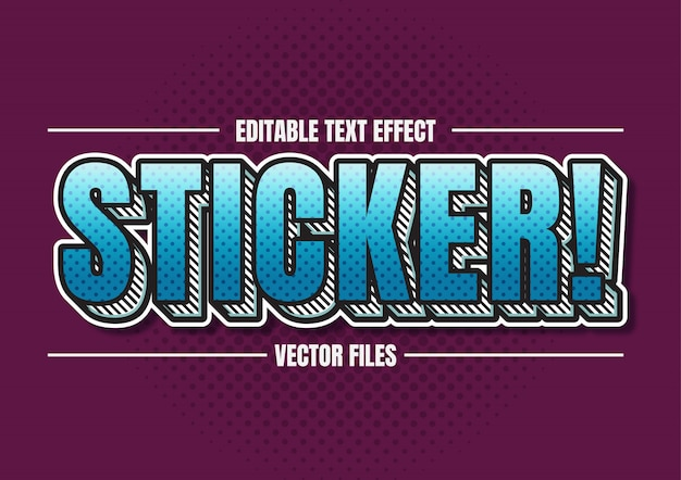 Simple sticker retro vector text style effect