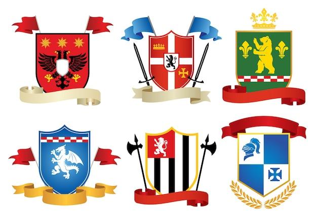 Simple style heraldic set vector