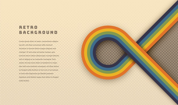 Simple style retro background with rounded striped element