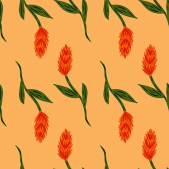 Simple style seamless farm pattern with red doodle ear of wheat ornament. light pastel orange background. graphic design for wrapping paper and fabric textures. vector illustration.
