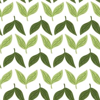 Простой стиль бесшовные модели с минималистичным орнаментом зеленые листья. белый фон. изолированная печать. векторная иллюстрация для сезонных текстильных принтов, ткани, баннеров, фонов и обоев.