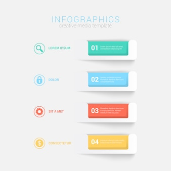 Simple stylish 4 step label multicolor infographics  template.