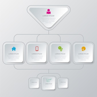 Simple stylish multicolor organization structure process