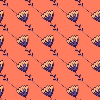 Простой стилизованный фон с абстрактными фигурами тюльпан. орнамент синих цветов на фоне кораллов.