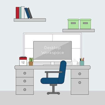 Простая тонкая линия плоский рабочий стол рабочего стола рабочего стола