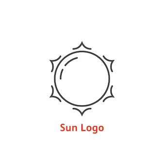 Простая тонкая линия логотипа солнца. концепция свечения, отпуск, туризм, белый свет, тропический, весенний горизонт, соль, дневная звезда. плоский стиль тенденции современный бренд дизайн элемент векторные иллюстрации на белом фоне