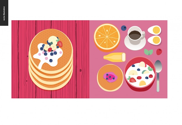 Simple things - meal - flat cartoon vector illustration of set of breakfast meal with coffee, fruits, eggs, pancakes and cereal, stack of pancakes with berries, toppings and cream - meal composition
