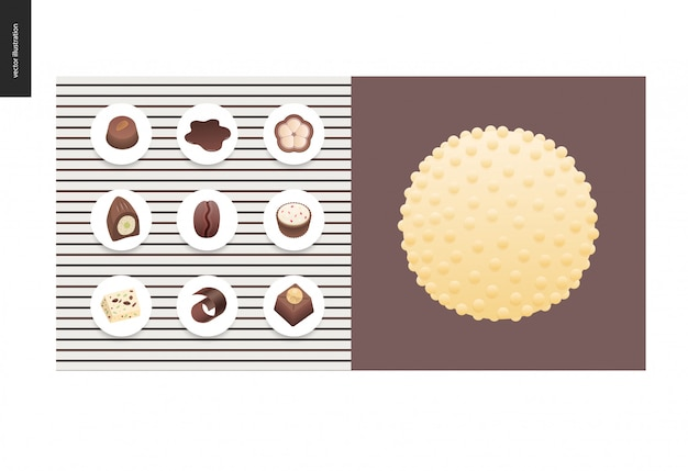Simple things - meal - flat cartoon vector illustration of set of dark and white chocolate crisp bonbons and bars, chocolate chips, coffee and cacao beans and hot chocolate