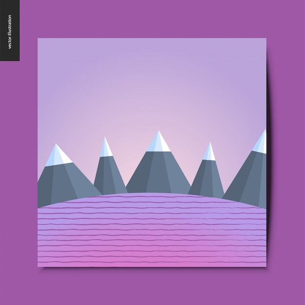 Простые вещи - горы на фоне полосатого поля, пейзаж в фиолетовом оттенке, летняя открытка, векторная иллюстрация