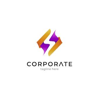 グラデーションの黄色と紫の色でシンプルな雷のロゴデザインテンプレート