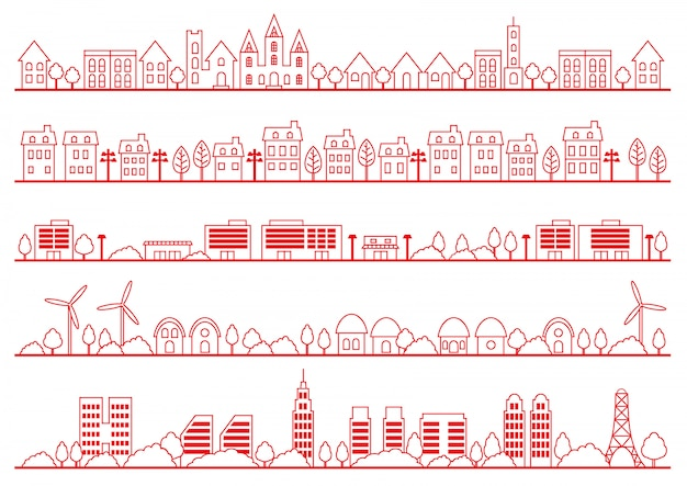 Simple townscape drawing set