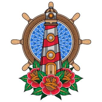 シンプルな伝統的な灯台のタトゥー