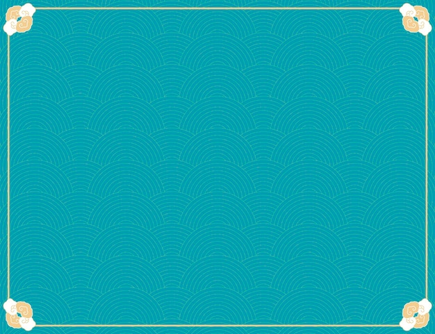 Simple traditional wave pattern background in turquoise tone