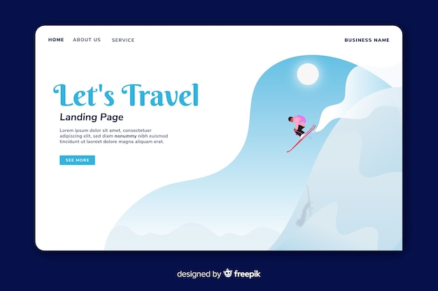 Simple travel landing page template