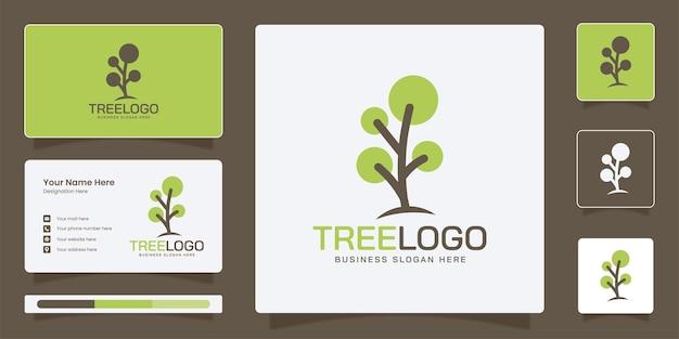 企業のビジネスアイデンティティテンプレートとシンプルなツリーのロゴ