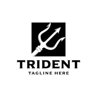 Логотип компании simple trident poseidon