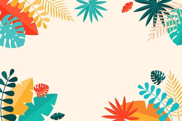 シンプルな熱帯のヤシとモステラは自然な背景を残します