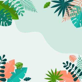 シンプルな熱帯のヤシとモステラは自然な青い背景を残します