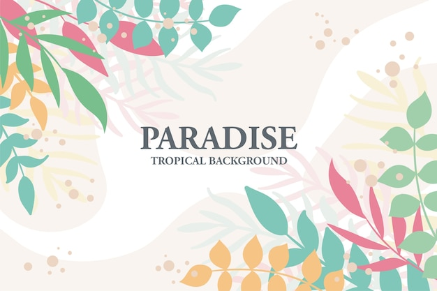 Simple tropical plants and leaves background. horizontal floral background