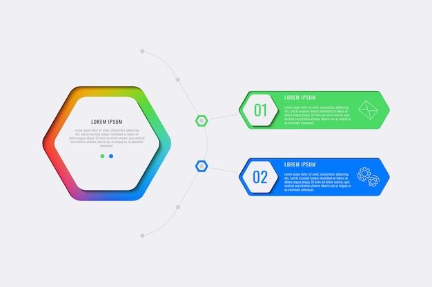 육각형 요소가있는 간단한 2 단계 디자인 레이아웃 인포 그래픽 템플릿. 배너, 포스터, 브로셔, 연례 보고서 및 마케팅 아이콘이있는 프레젠테이션을위한 비즈니스 프로세스 다이어그램. 프리미엄 벡터