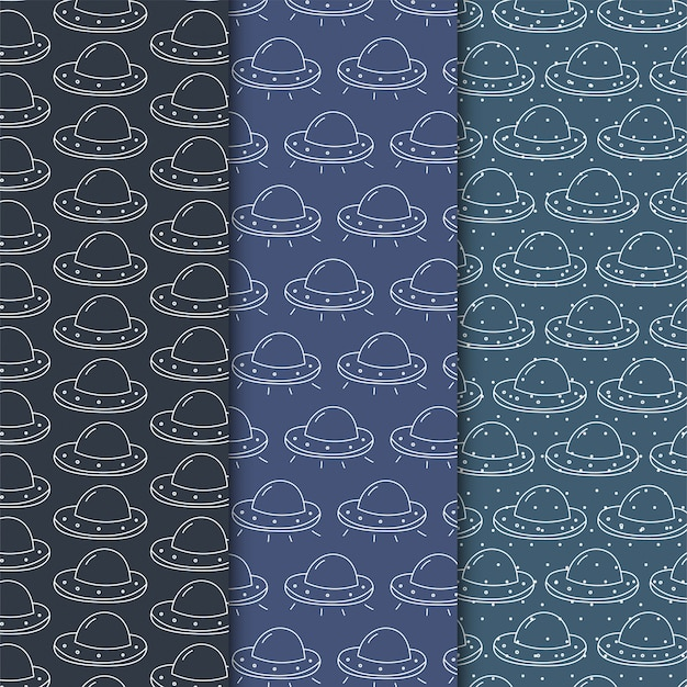Simple ufo seamless pattern on dark