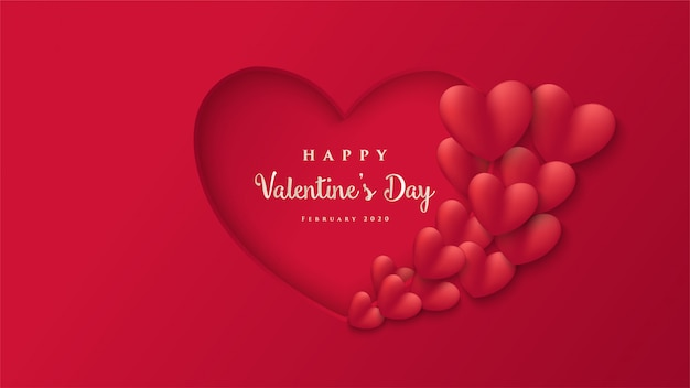 Simple valentine with illustrations of love paper cut shapes and the words
