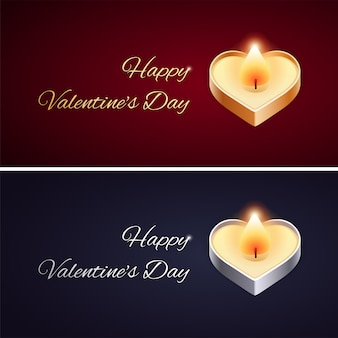 황금과 은색 촛불 간단한 발렌타인 데이 카드