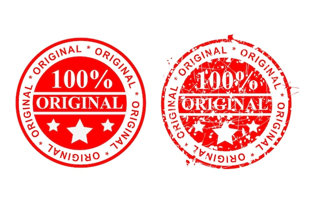 Simple vector 2 style red rust and clean circle rubber stamp, 100% original, isolated on white