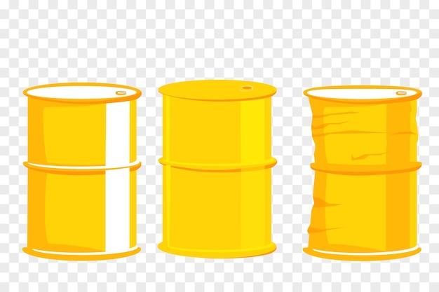 単純なベクトル、透明な効果の背景で3つの異なる条件の黄色のバレル