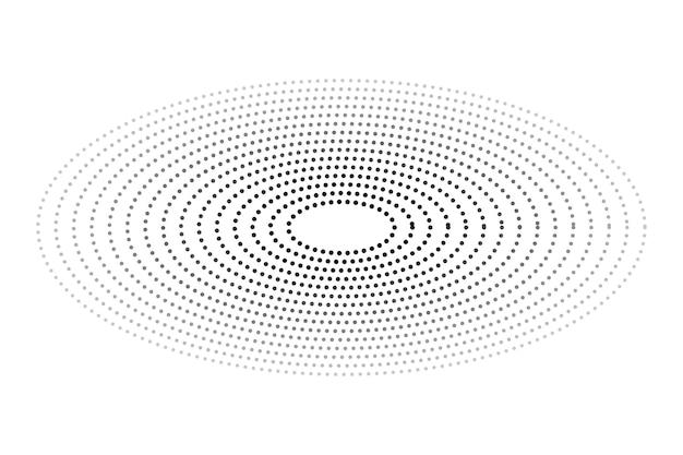 간단한 벡터 흑백 타원형 하프톤 흰색 절연