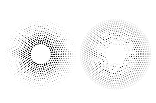 Simple vector black and white circular halftone, isolated on white