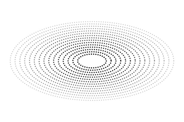 Simple vector black and white oval halftone isolated on white