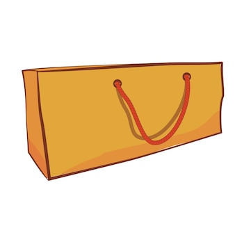 Simple vector brown hand draw sketch of paper bag with red rope, isolated on white